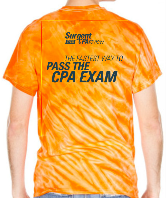 CPA Review rep t-shirt design for on-campus events.