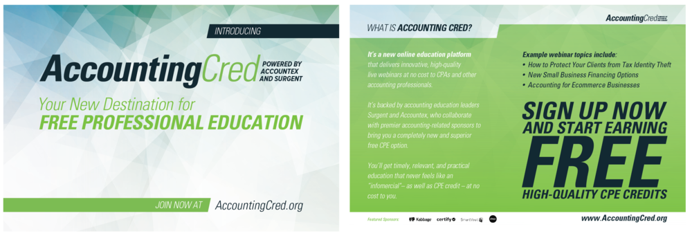 AccountingCred's postcard design.