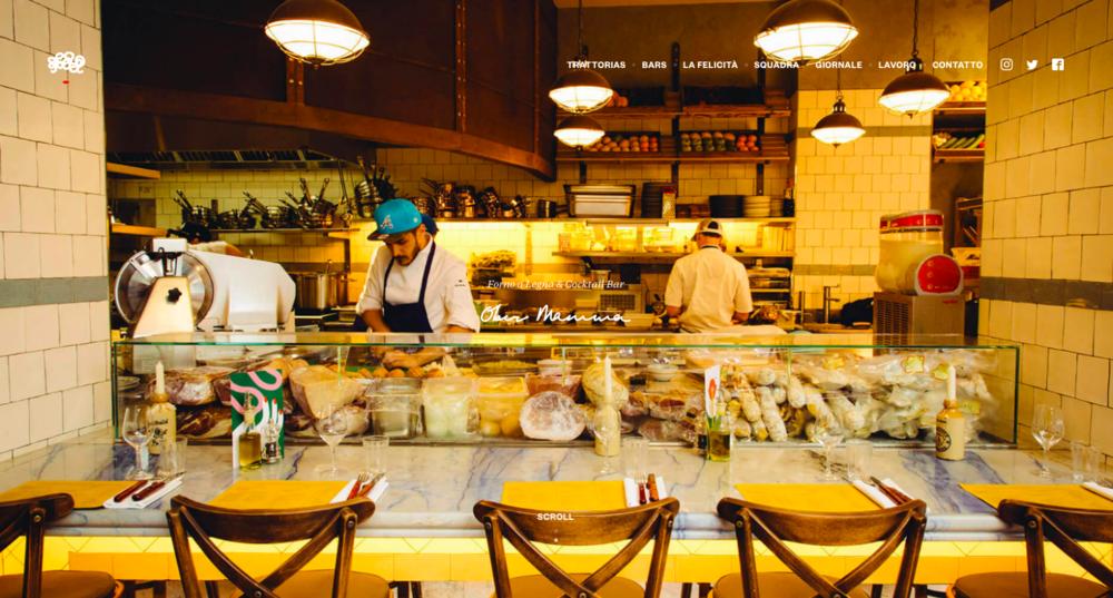 Site du restaurant Ober Mamma. L'espace intérieur est mis en valeur.