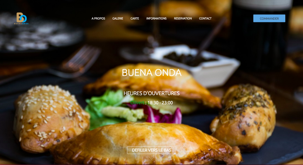 Site du restaurant Buena Onda réalisé par Clickeat. Les horaires d'ouvertures sont visibles dès l'arrivée sur le site. Elles sont facilement modifiable depuis un back office.