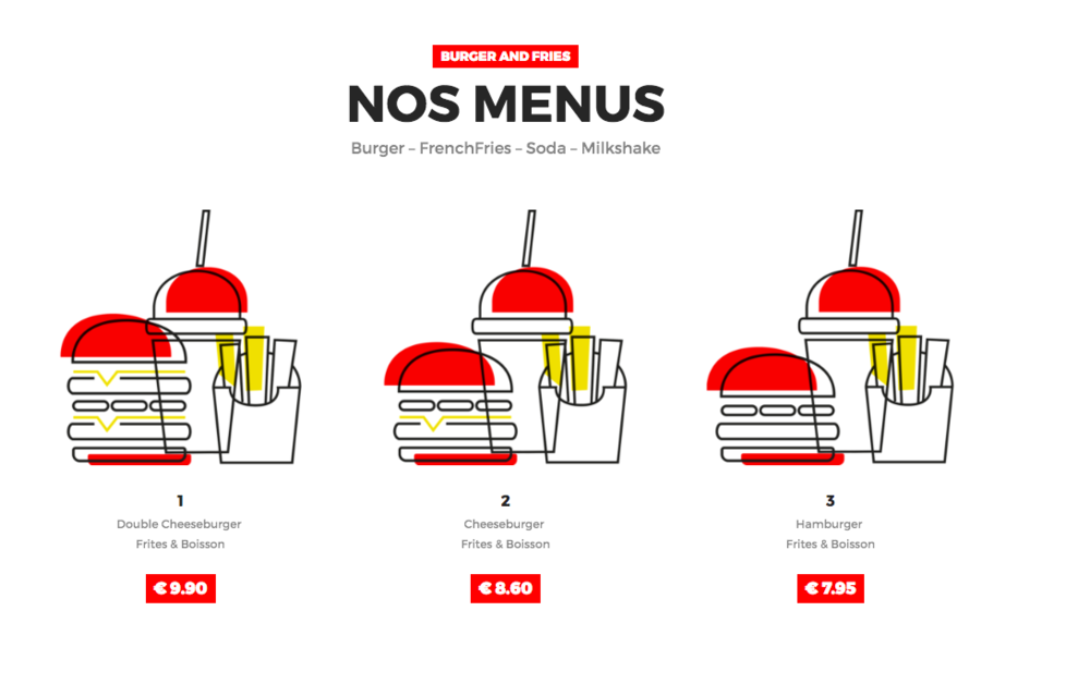 Exemple de menu du restaurant Burger & Fries.
