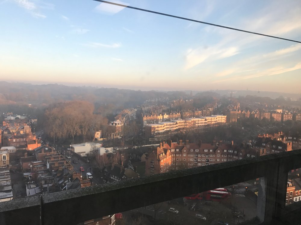 The view out of the window from my hospital ward, on a beautiful, crisp January day.