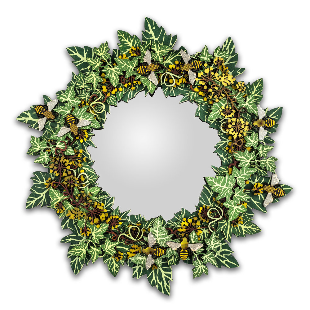 Large Ivy bee mirror, 42cm dia, Photograph by Jo Hounsome