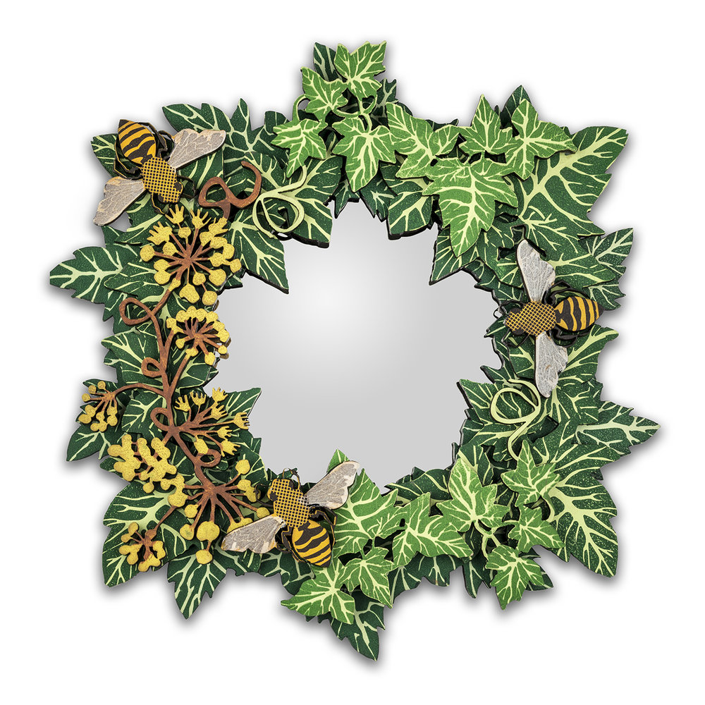 Small bee ivy mirror