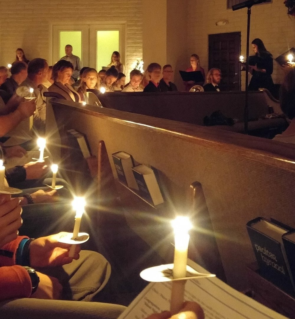 Annual candlelight  Festival of Lessons & Carols for  Christmas Eve