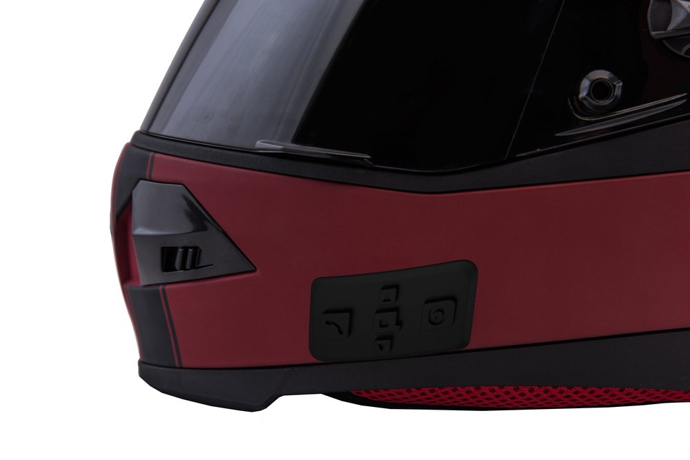 minimalist Control panel - The Quin bluetooth control panel is designed to be unlike anything you have ever seen on a motorcycle helmet. It is sleek and efficient, improving the aerodynamics and functionality of bluetooth connectivity.
