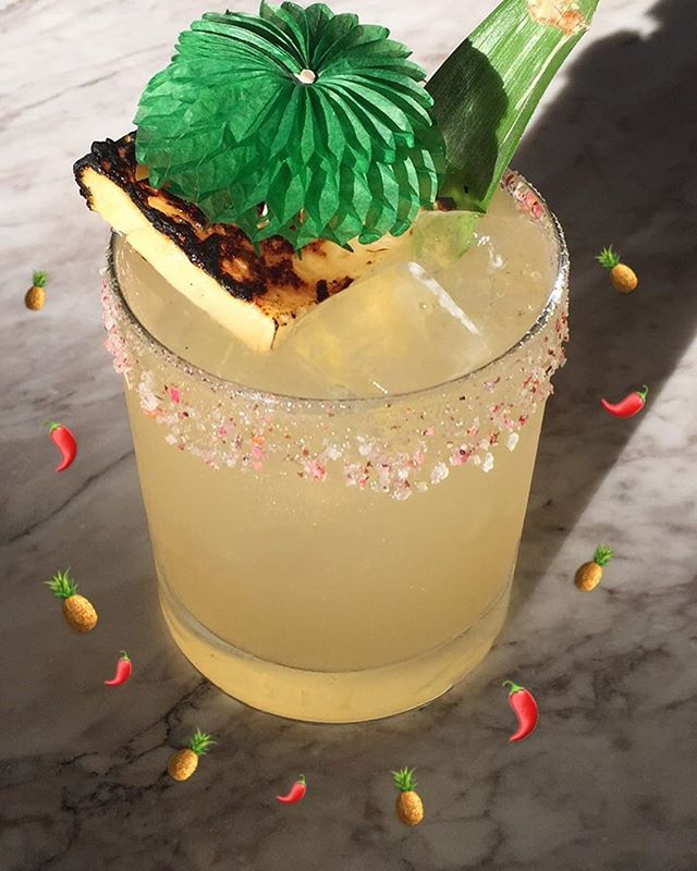 Grilled Pineapple & Chilli Margaritas 🙏🙏🙏 Tequila, mezcal , Ancho Verde, grilled pineapple, lime - all week at our barbie spesh, here in The Institute of Light