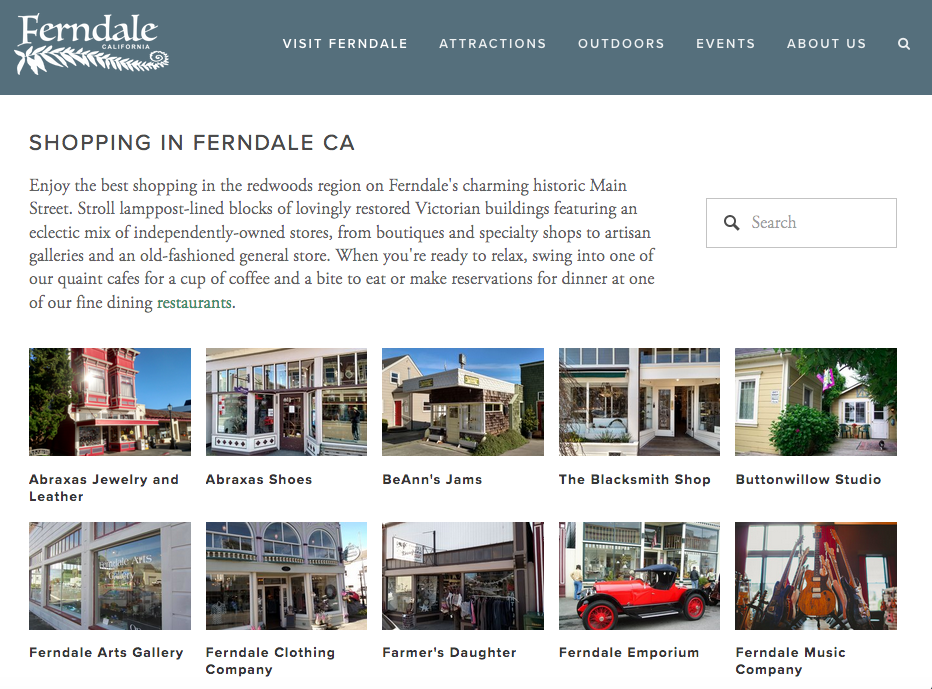 Visit Ferndale | Shopping in Ferndale CA Screenshot