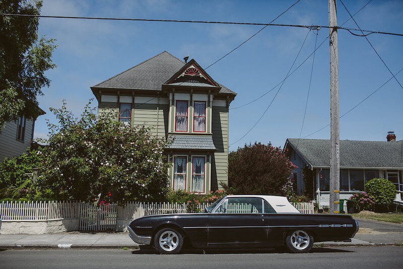 Vintage Car in front of Victorian home | Ferndale CA