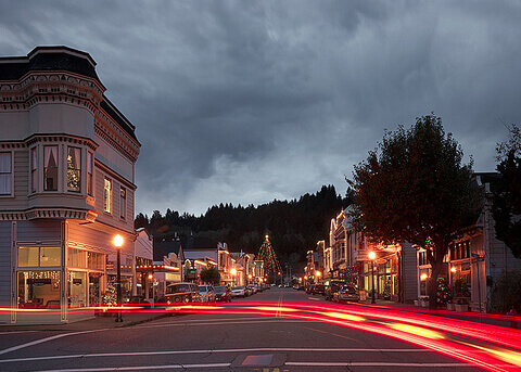 Ferndale Main Street at Night