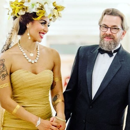 Happy Anniversary my love @thorstenovergaard 💋🎆👑🎶💕❤️😘 I'm so grateful for you and couldn't be prouder to have such a fierce, powerful and creative genius Viking for a husband! 😊😆💕#thevillavonovergaards #truelove #style #wedding #powercouple #thorstenvonovergaard