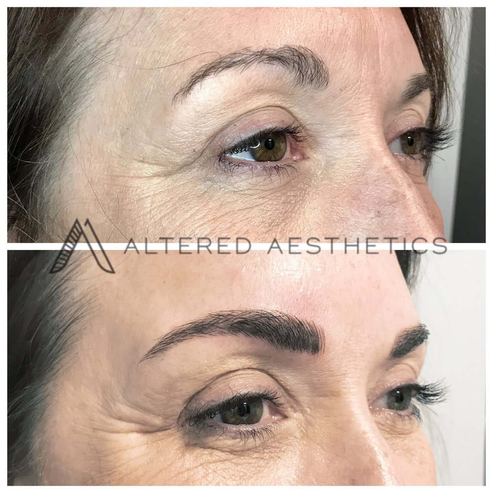 Actual Altered Aesthetics client - Before and After Microblading
