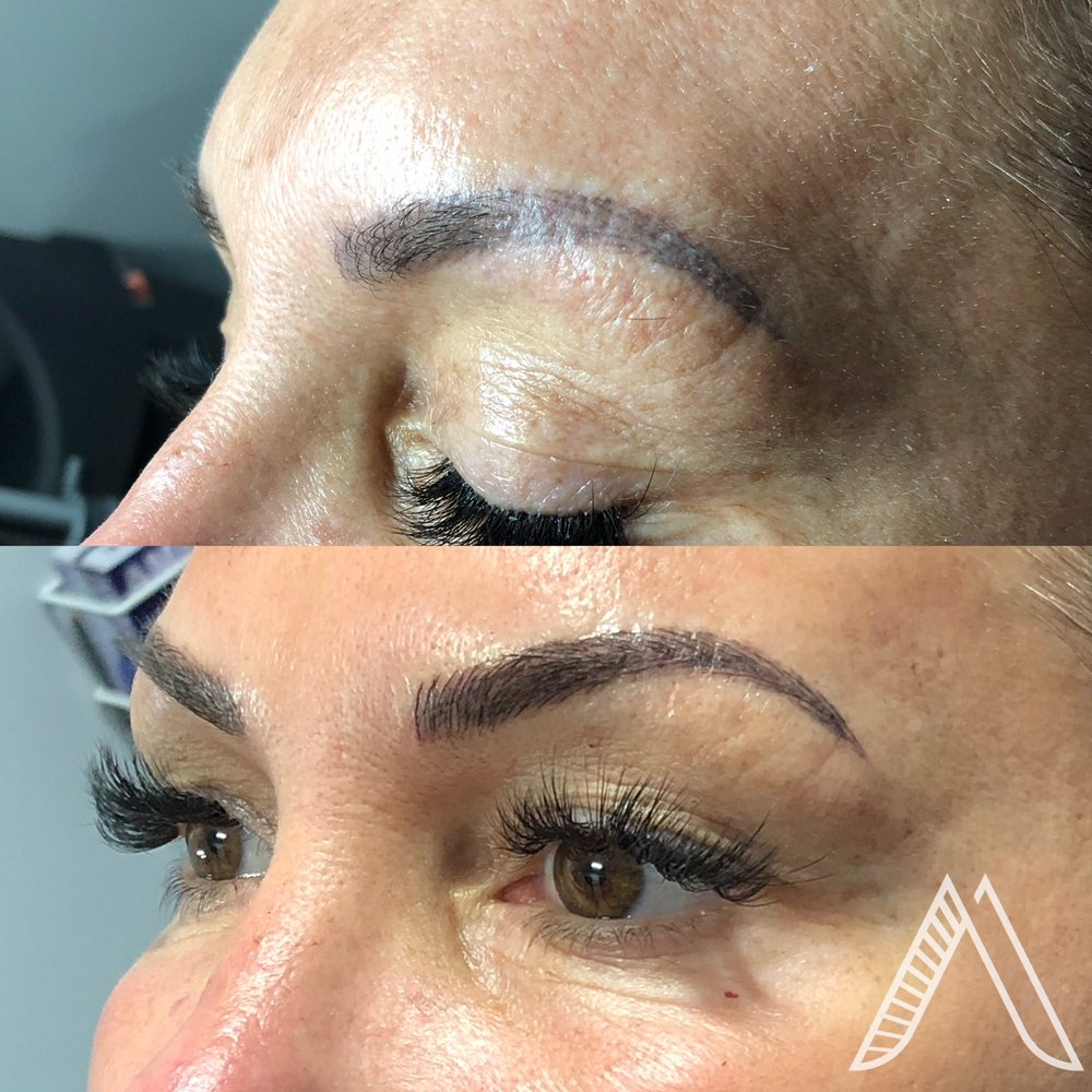 Top - Previous Microblading by Another Artist  Bottom - Updated Brows by Jen
