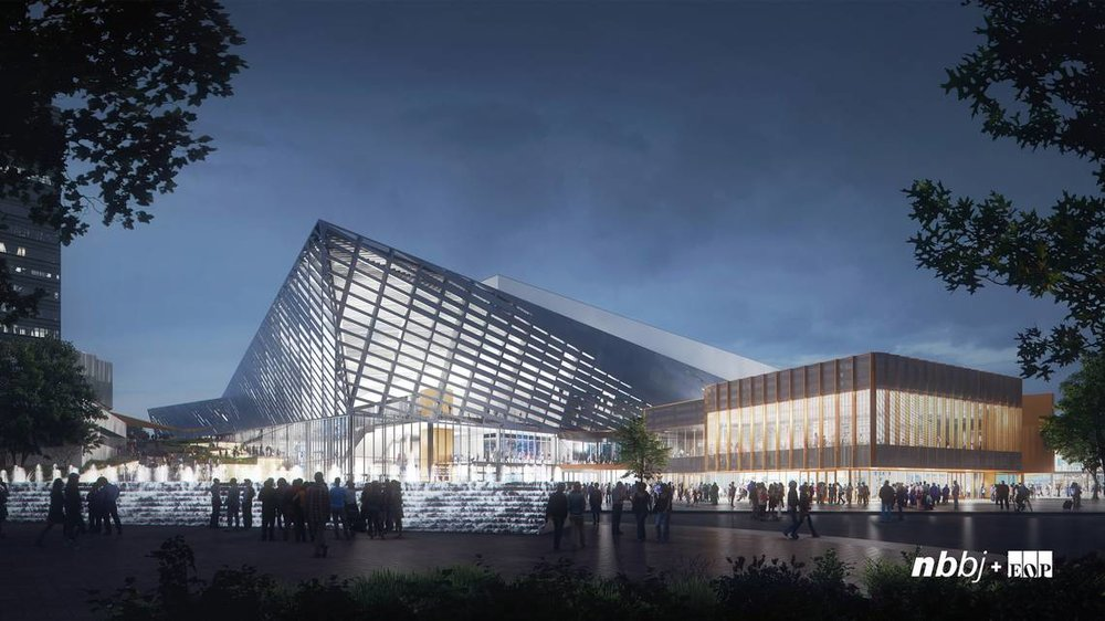 Architect's rendering of the Rupp Arena exterior after renovation is complete.  NBBJ / EOP Architects
