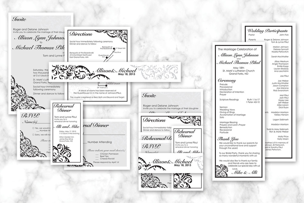 Allison & Michael Wedding Stationery   Black and white wedding stationery with scroll details. Package consisted of: Invitation, Directions Card, RSVP Card, Rehearsal Dinner Invitation, Rehearsal Dinner Invitation, Belly Band and Program.  Read more about this project here.