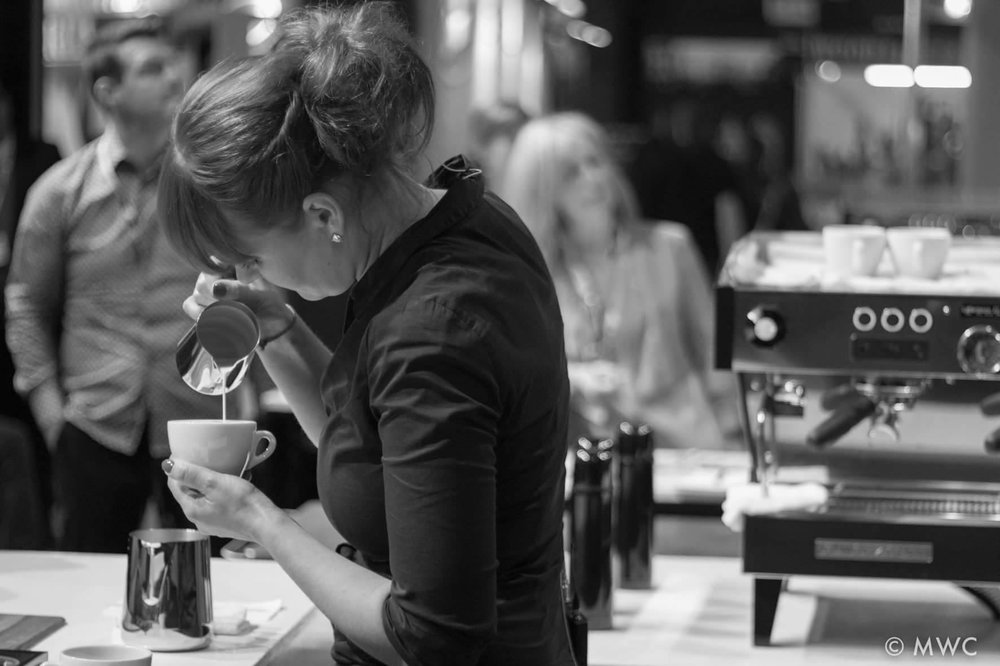 Renata competing in the Irish Latte Art Championship – she will represent Ireland in the 2017 World Championships in Budapest this June.
