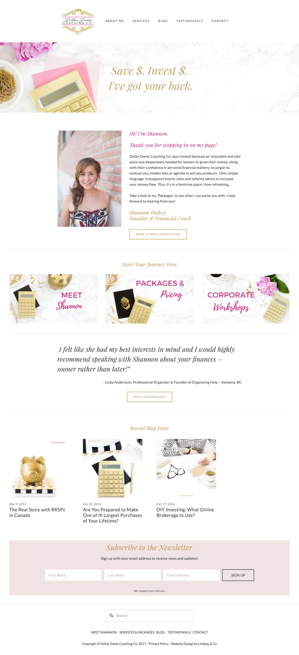 Dollar Dame Website Design by Lindsay & Co. Home