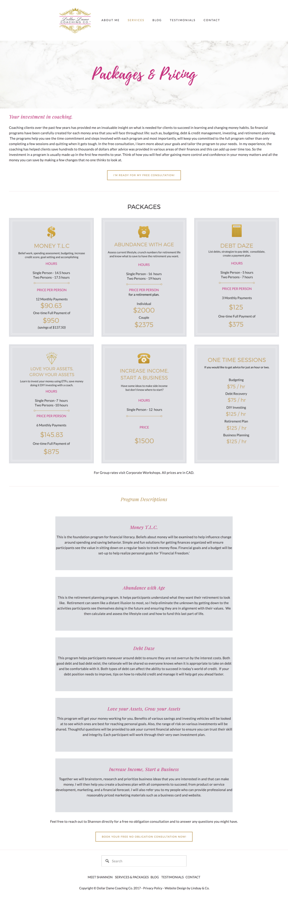 Squarespace website design for Dollar Dame Packages and Pricing Lindsay & Co