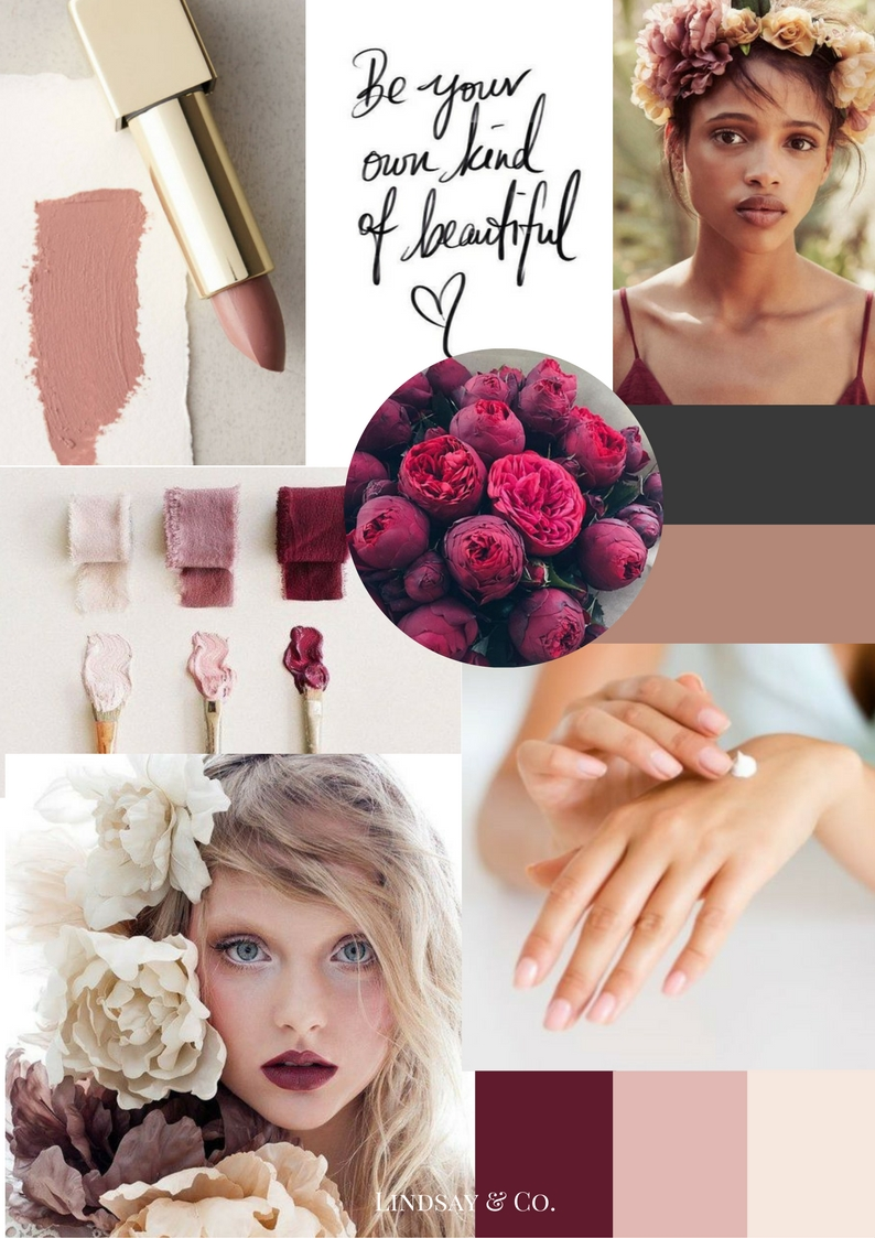 Lindsay and Co. Blush and Burgundy moodboard