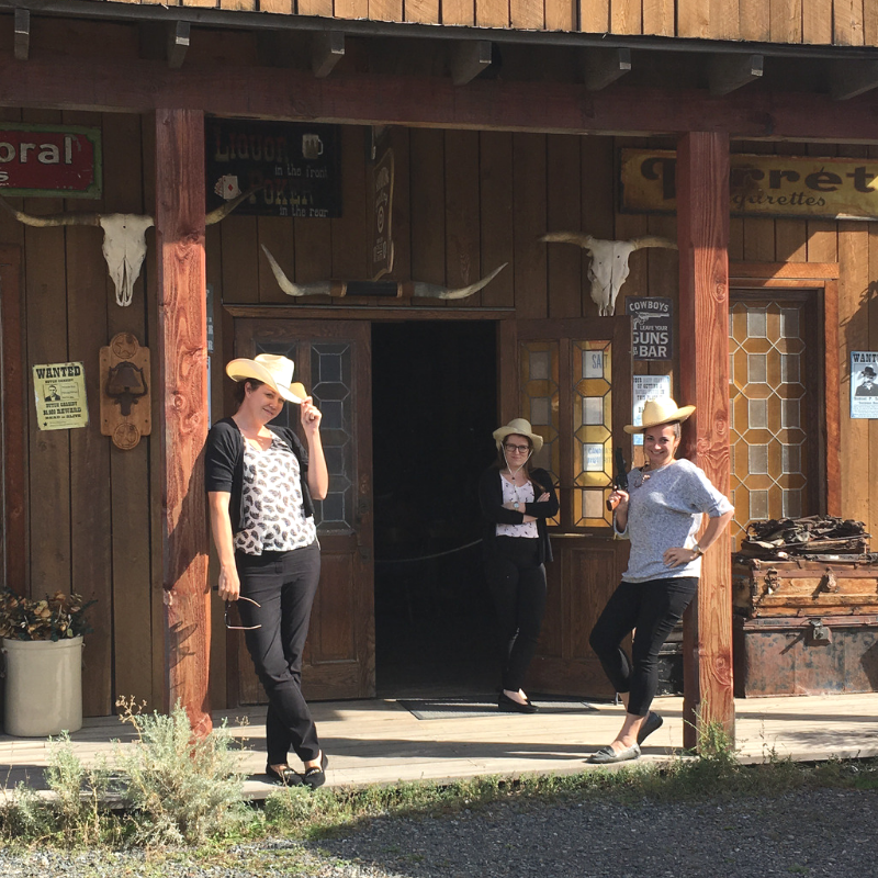 Lindsay, brandi and amy - not your average hr team on our first road trip together. we stopped at a random replica 1890's town just north of kamloops, bc. we had a great time. <3