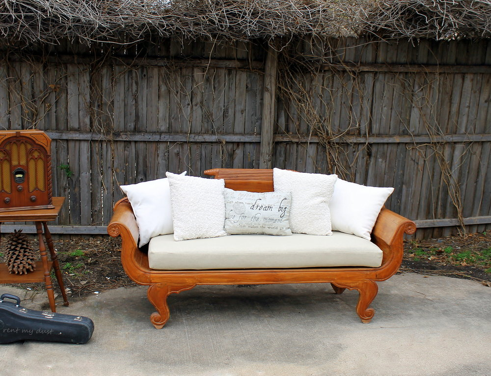 Wooden Quot Duncan Quot Phyfe Style Sofa With Linen Cushion Rent
