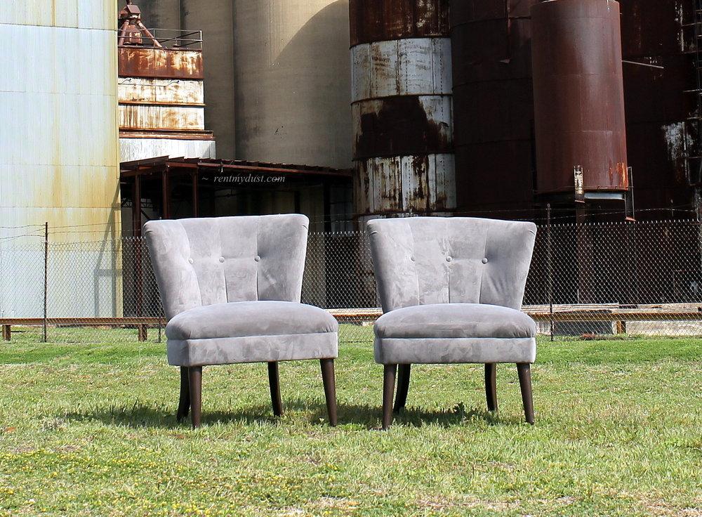 Grey Kohler Velvet Slipper Chairs
