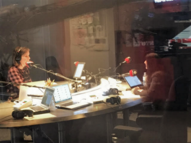 Manjit, live on-air with Gill Deacon at the Canadian Broadcasting Centre in Toronto.