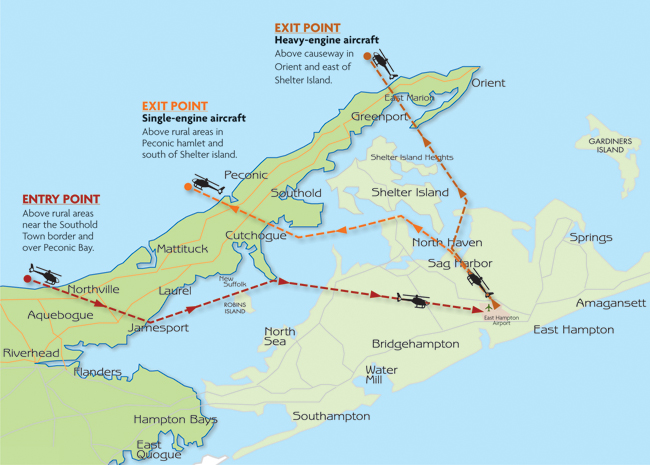 TIMES REVIEW ILLUSTRATION  Newly proposed routes for aircraft flying into and out of East Hampton Airport.