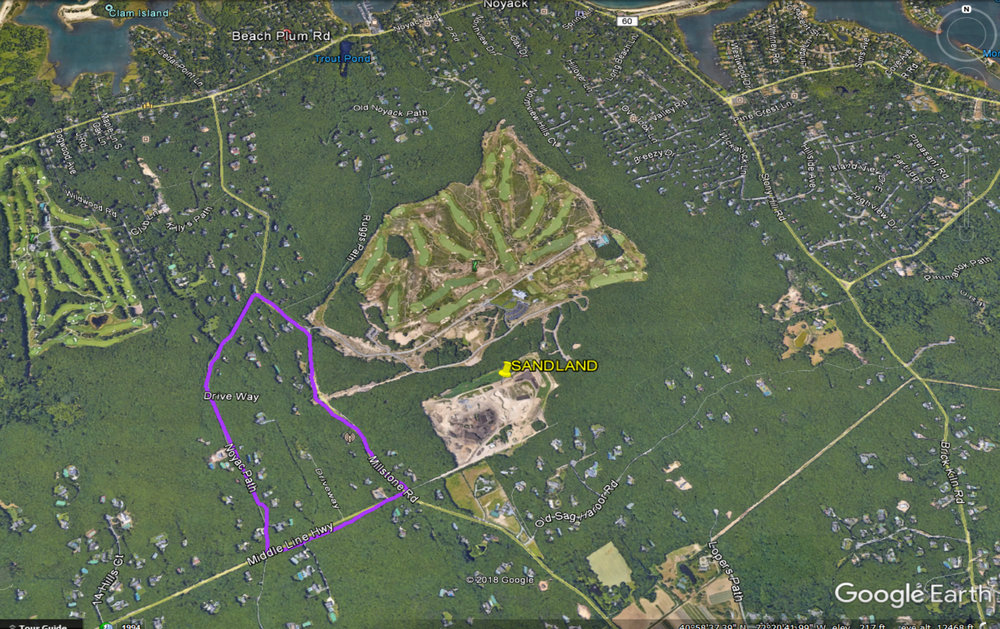 The area outlined in purple is the area that was offered free well testing by Suffolk County Health Department.