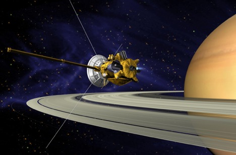 (Artist's concept of Cassini. Image credit: NASA. Available here:  http://photojournal.jpl.nasa.gov/catalog/PIA03883 . Public domain)