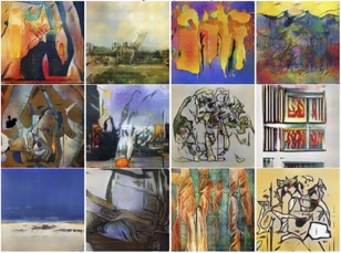 """Figure 3: These images were """"painted"""" by a deep learning neural network called a creative adversarial network (CAN)."""