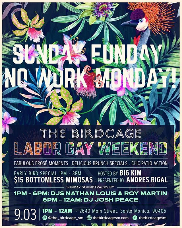 NO WORK TOMORROW means we get to have an exxxxtra fun Sunday! 💃🏻💃🏻 (Plus it just doesn't get better than $15 bottomless mimosas 🙏🏼) #Brunch #TheBirdcage #SantaMonica #LGBTQ