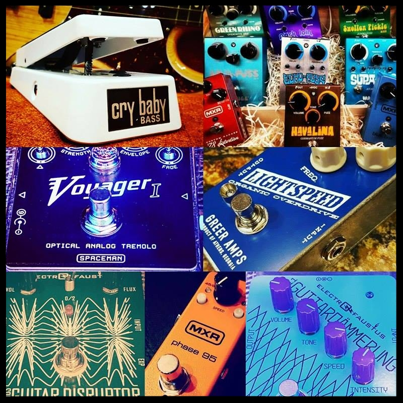 Pedal Effects-  MXR, Way Huge, Electro Faustus, Spaceman Effects,  Greenhouse, Greer Ampliflication, and Jim Dunlop U.S.A.