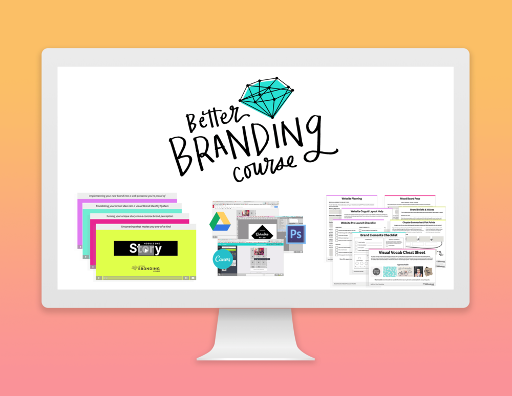 BETTER BRANDING COURSE - $280 value - This full-scale comprehensive branding class taught by Caroline is EVERYTHING you need to build an authentic and professional brand identity from scratch, even if you don't know what you want your business to be yet! With 4 modules and 26 lessons, it will take you through the step-by-step process of uncovering what makes you unique and baking that into a visual presence that cuts through the clutter!