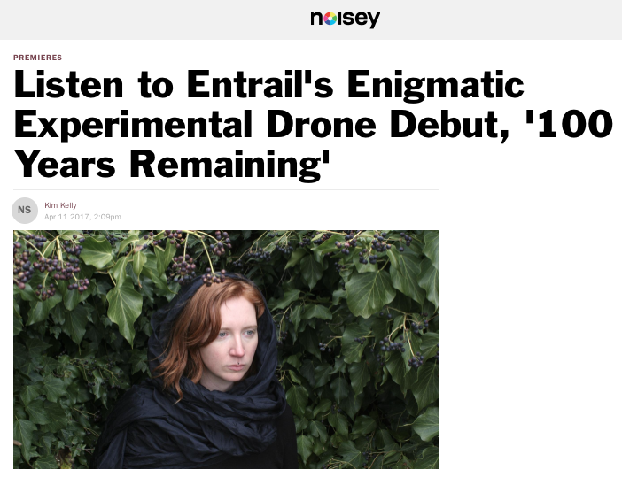 """The music created as Entrail … is weird, unearthly, and beautiful, which are my three favorite musical descriptors. It's also terribly difficult to describe, which, in a perverse way, only adds to its charms.."" -Kim Kelly  (click image for full article)"