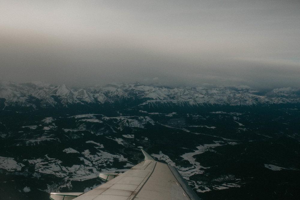 decending over the Canadian rockies