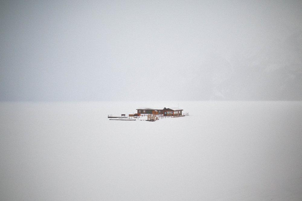 a boat house on the beautiful (and frozen) Lake Minnewanka