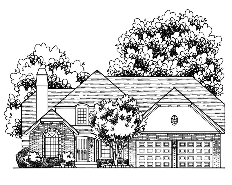 Lovely Leawood Custom Home Drawing