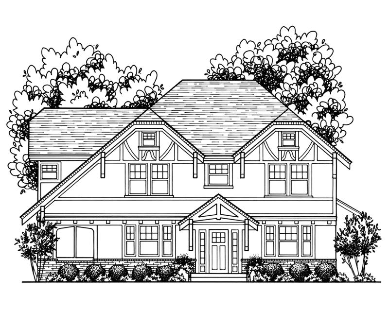 Custom Home Drawing by Katie Danner