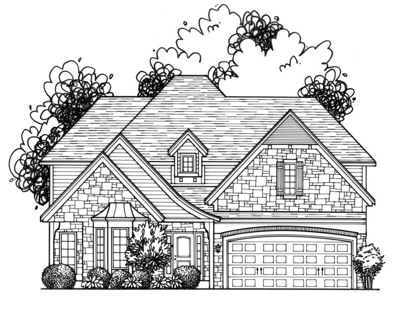Custom Drawing of New Build home in Fairway, KS