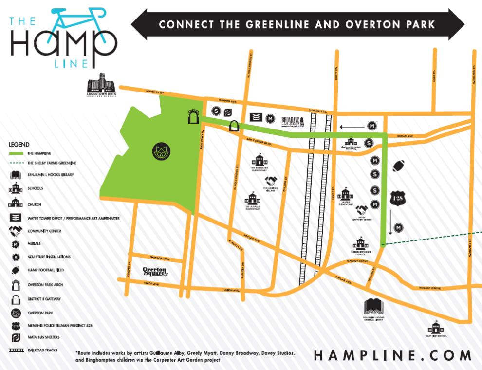 The Hampline connects Overton Park and Shelby Farms Greenline via Broad Avenue and Tillman Street.