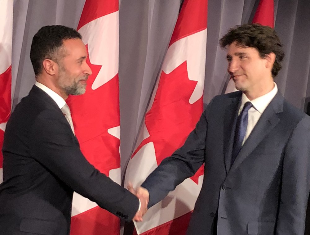 Claudio Rojas with Prime Minister of Canada, Justin Trudeau – March 2018