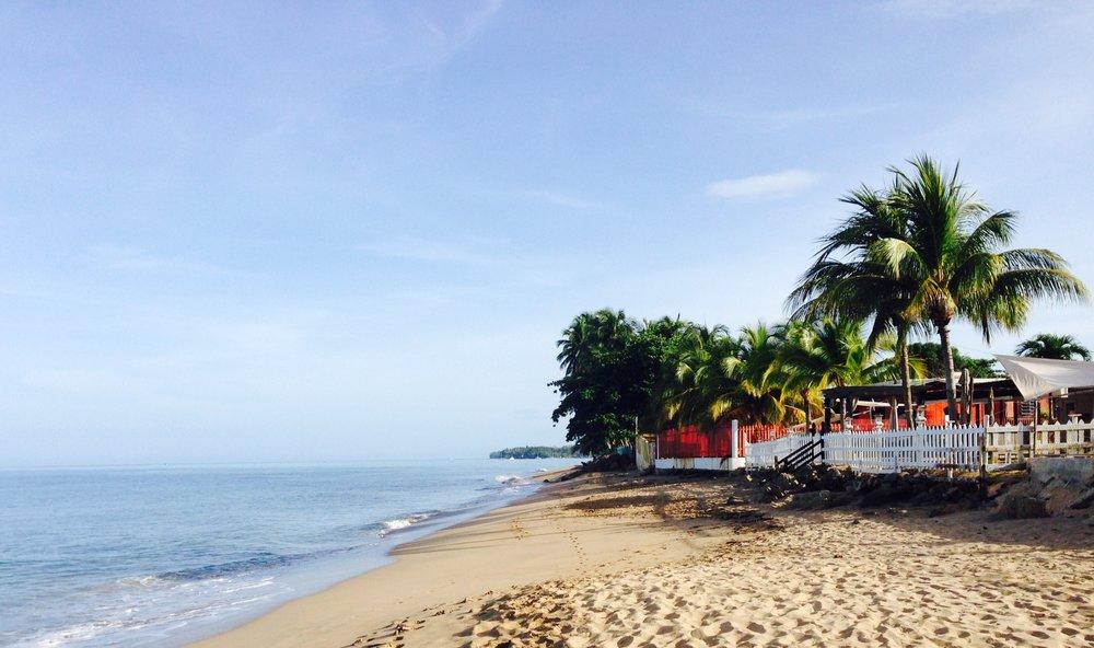 Beach view along Tres Sirenas Inn, Rincon, Puerto Rico