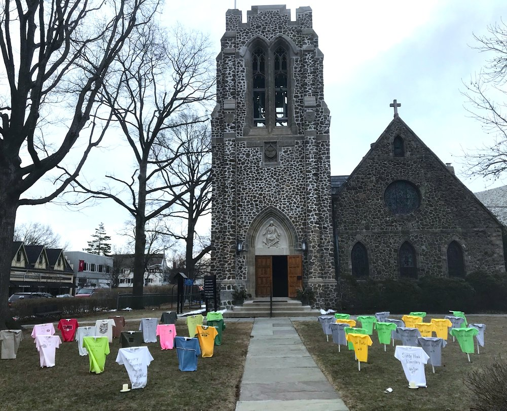 St. James Episcopal Church in Montclair, N.J., dedicated a T-Shirt Memorial for Marjory Stoneman Douglas High School in Parkland, Florida on Sunday, February 18. It will stay on the lawn through Lent.  (Photo: Sharon McCloskey)