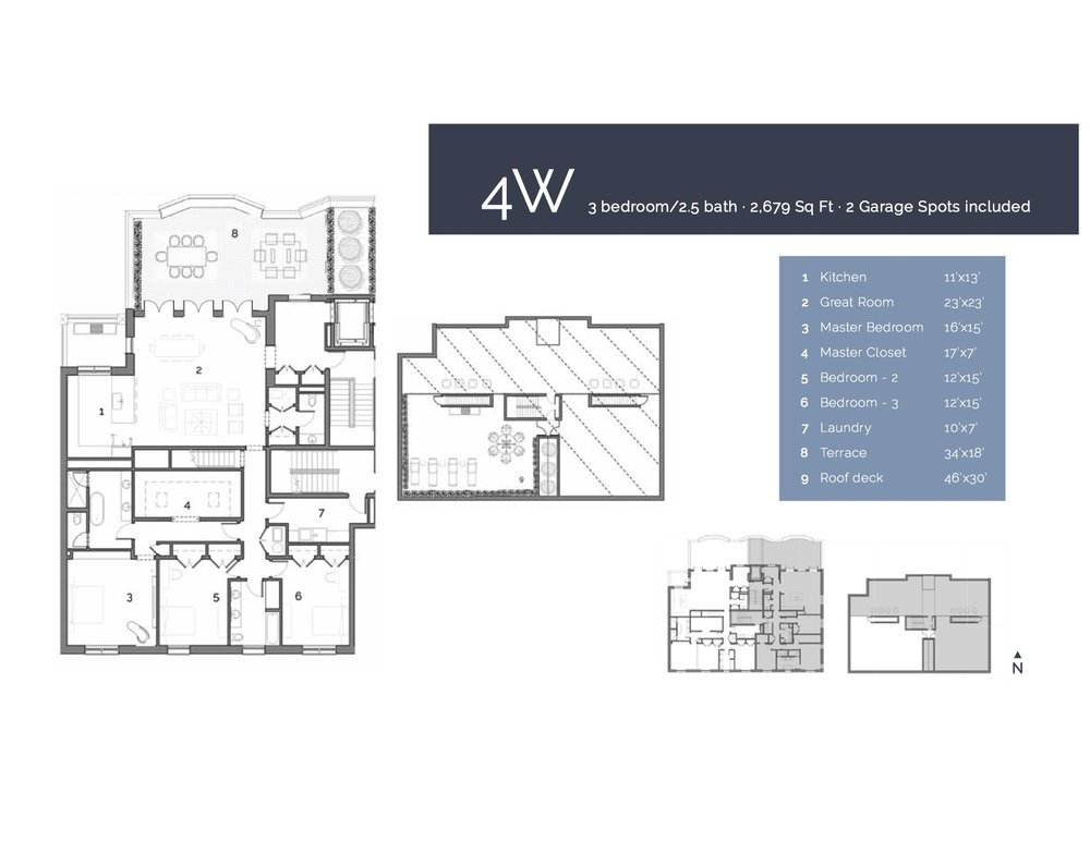 4W  — 3 Bedroom/2.5 Bath, 2679 sf.