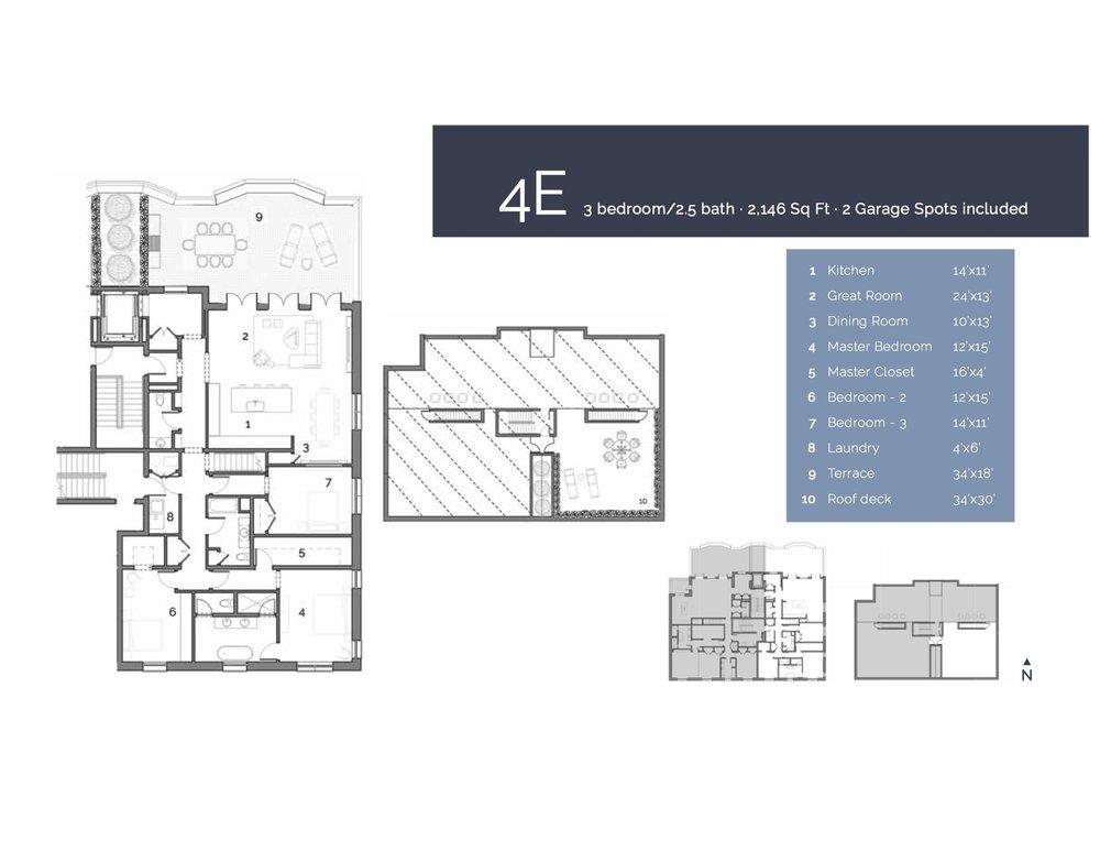 4E  — 3 Bedroom/2.5 Bath, 2146 sf.