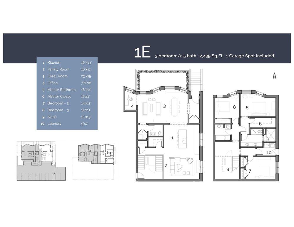 1E  — 3 Bedroom/2.5 Bath,2439 sf.