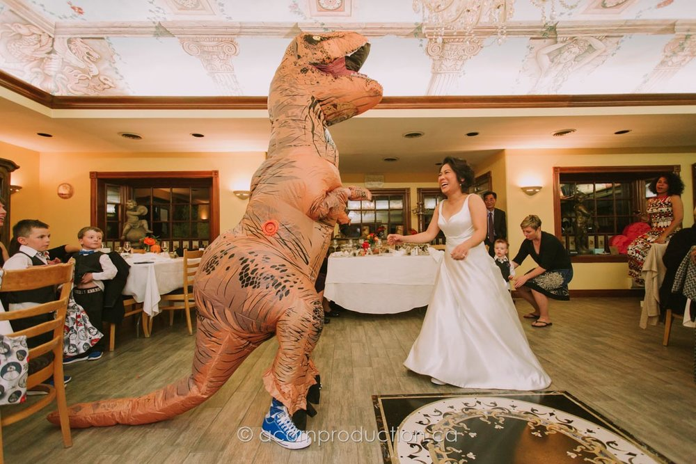 bride-groom-first-dance-t-rex-costume