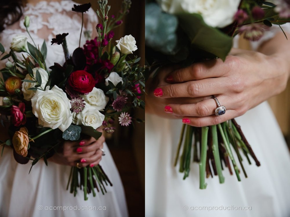 close up wedding flower and engagement ring
