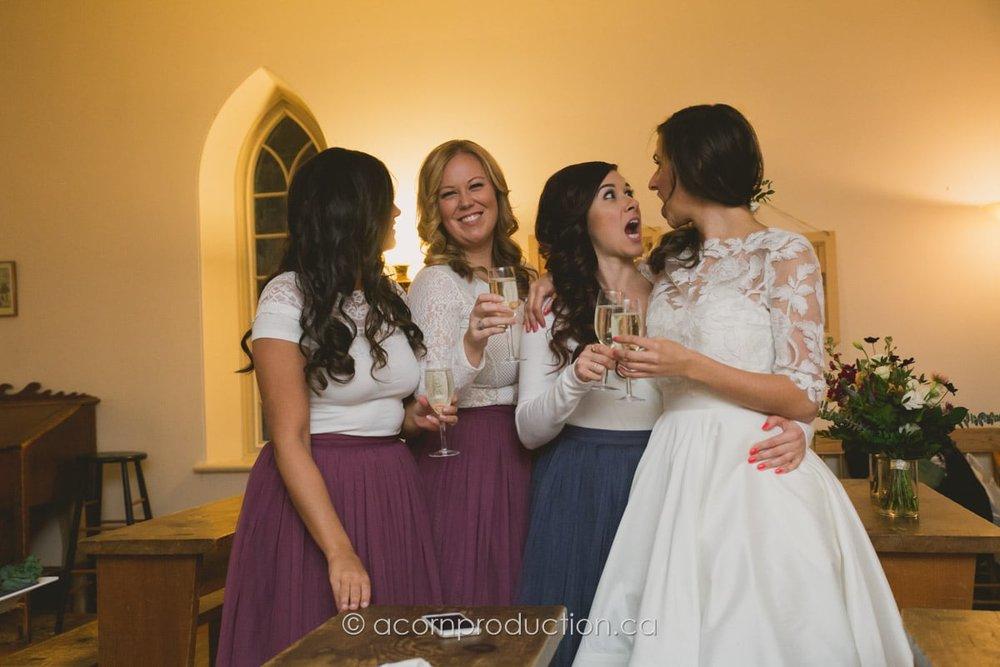 bridesmaid celebrates